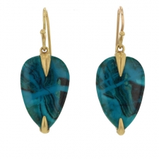 Chrysocolla 18k Simple Bird Earrings Image