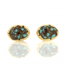 Turquoise Egg Gold Stud Earrings Image