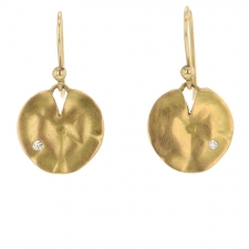 Small Gold Lilly Pad Earrings Image