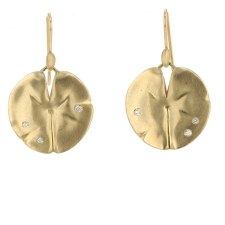 Medium 10k Gold Lilly Pad Earrings Image