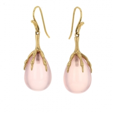Rose Quartz Gold Claw Egg Earrings Image