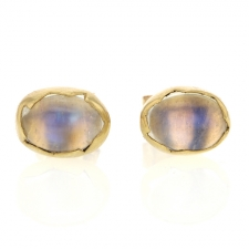 Rainbow Moonstone 18k Egg Post Stud Earrings Image