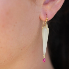 White Opal Simple Bird Earrings with Rubies