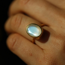 Burmese Moonstone Gold Ring Image