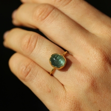 Aquamarine Gold Egg Ring