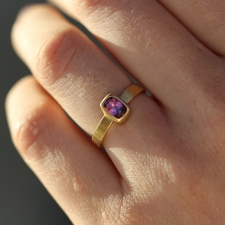 Rhodolite Garnet Gold Thin Cigar Band Ring Image