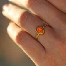 Gold Oval Fire Opal Ring Image