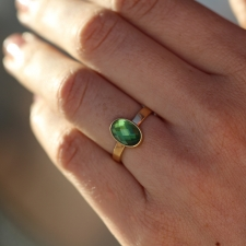 Green Tourmaline Faceted Gold Ring Image