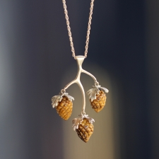 10k Tigers Eye Pine Cone Cluster Necklace Image