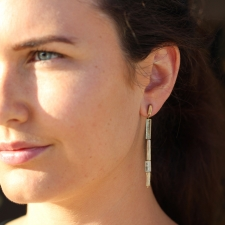 Green Beryl Medium Gold Reed Earrings Image
