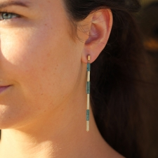 Green Beryl Long Gold Reed Earrings Image