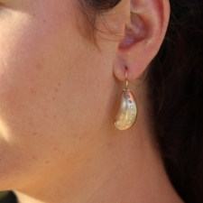 Small Abalone Gold Earrings with Diamonds Image