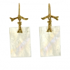 Rainbow Moonstone Gold Branch Earrings Image