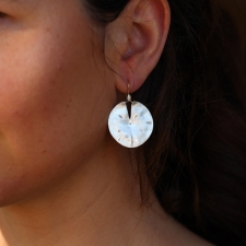 Large Silver Lilly Pad Earrings Image
