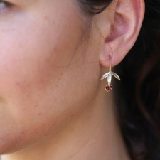 Small Wildflower Earrings with Rubies Image