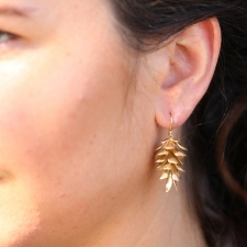 Large Gold Pine Cone Earrings Image