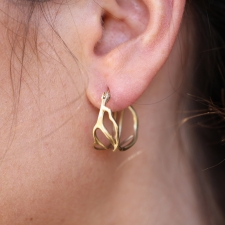 Small 10k Gold Coral Branch Hoop Earrings Image