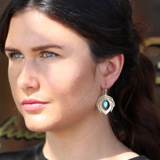 Gold Peacock Earring with Turquoise Drop Image