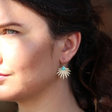 Small Gold Fan Palm Turquoise Earrings Image