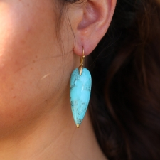 Turquoise 18k Long Simple Earrings Image