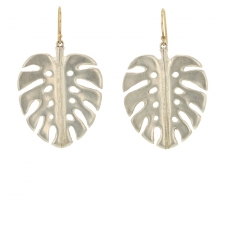 Medium Silver Palm Leaf Earrings Image