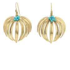 Large Curled Fan Palm Earrings with Turquoise Image