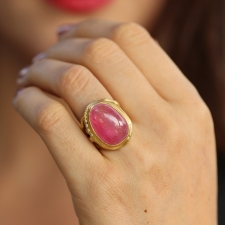 Pink Tourmaline Branch Ring with Diamonds Image