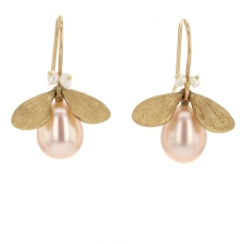 Pink Pearl Gold Bug Earrings Image