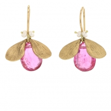 Rubellite and Pearl Bug Gold Earrings Image