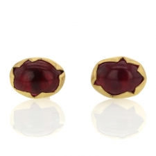 Red Tourmaline Egg Post Stud Earrings Image