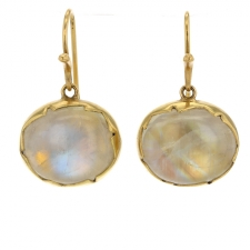 Hanging Rainbow Moonstone Egg Earrings Image
