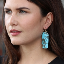 Large Long Turquoise Branch Earrings Image