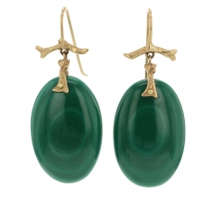 Malachite 14k Gold Branch Earrings Image