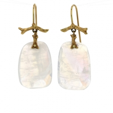Medium Rainbow Moonstone 18k Gold Branch Earrings Image