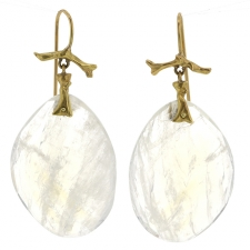 Large 18k Gold Rainbow Moonstone Branch Earrings Image