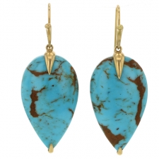 Turquoise Teardrop Bird Earrings Image