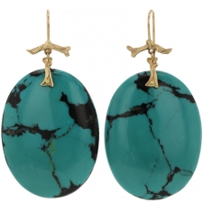 Large Turquoise Slice Earrings Image