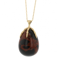 Red Jasper Egg Gold Claw Necklace