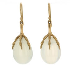 Moonstone Claw 18k Gold Earrings Image