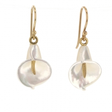 White Mother of Pearl Calla Lily Earrings Image