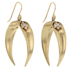Gold Double Day Flowers Earrings with Pearls Image