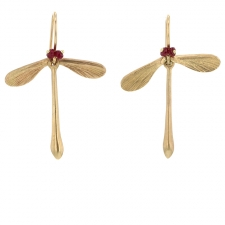 Ruby Jeweled Damselfly Earrings Image