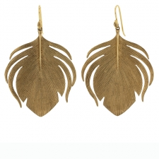 10k Gold Large Peacock Feather Earrings Image