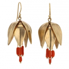 Gold Coral Imperial Crown Earrings Image