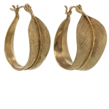 Feather 10k Gold Hoop Earrings Image