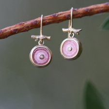 Rhodochrosite Earrings with Small Diamonds Image