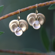 Gold Pansies with Pink and White Pearl Earrings Image