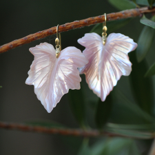Large Pink Mother of Pearl Fancy Leaf Earrings Image