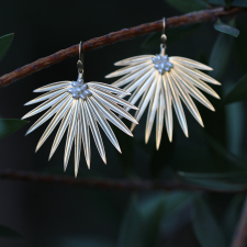 Large Gold Fan Palm Earrings with Pearls Image