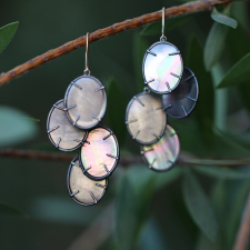 Oxidized Black Mother of Pearl Silver Dollar Earrings Image